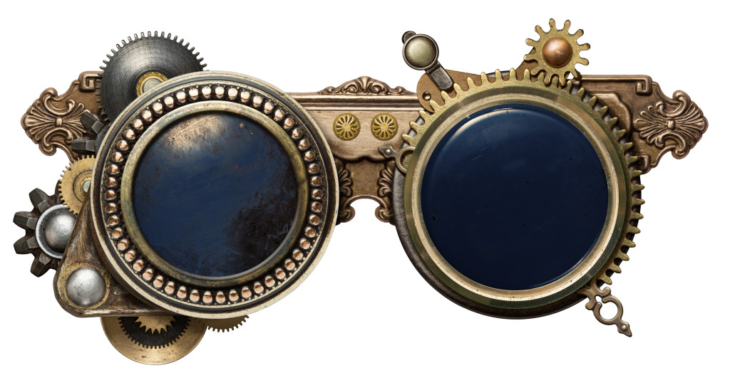 Steampunk goggles metal collage, isolated on white